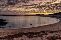 Por do sol na fada portuária, grande estrada do oceano, Victoria, Austrália imagem de stock royalty free