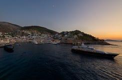 Por do sol na ilha bonita do Hydra Imagens de Stock Royalty Free