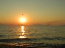 Por do sol na ilha 3 de Evia Foto de Stock