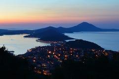 Por do sol na ilha de Losinj Fotografia de Stock Royalty Free