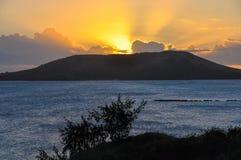 Por do sol na ilha de Nacula em Fiji Fotos de Stock