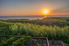 Por do sol na ilha de Susak Foto de Stock