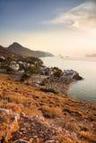 Por do sol na ilha do Hydra, Grécia Foto de Stock