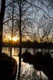 Por do sol na lagoa no parque da aposentadoria, madrid imagens de stock