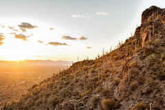 Por do sol na montanha em Tucson AZ EUA Imagens de Stock Royalty Free