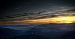 Por do sol na montanha Shoria Foto de Stock Royalty Free