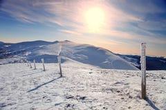 Por do sol na parte superior da montanha Foto de Stock Royalty Free