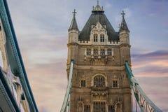 Por do sol na ponte da torre, Londres fotos de stock royalty free