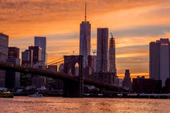 Por do sol na ponte de Brooklyn Imagem de Stock Royalty Free