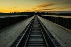 Por do sol na ponte de Kinzua - Pensilvânia foto de stock royalty free