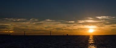 por do sol na ponte do mackinaw Imagem de Stock Royalty Free