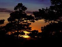 Por do sol na porta de Navacerrada Imagens de Stock Royalty Free