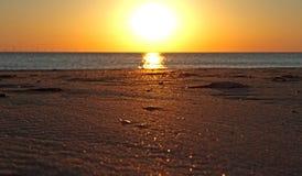 Por do sol na praia Imagem de Stock