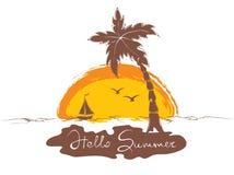 Por do sol na praia com barco ilustração royalty free