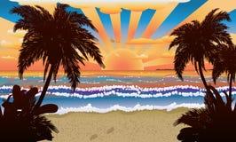 Por do sol na praia com palmas ilustração royalty free