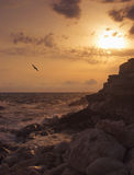 Por do sol na praia da montanha Imagens de Stock