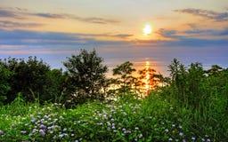Por do sol na praia de Bayfield Fotografia de Stock Royalty Free