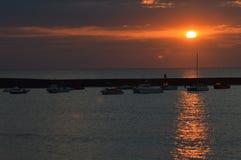 Por do sol na praia de Bude Fotografia de Stock Royalty Free