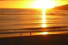 Por do sol na praia de Carmel Imagem de Stock Royalty Free