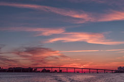 Por do sol na praia de Clearwater, Florida Paisagem Golfo de México cityscape imagem de stock