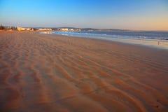 Por do sol na praia de Essaouira Fotografia de Stock