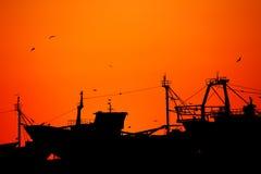 Por do sol na praia de Essaouira Imagem de Stock Royalty Free