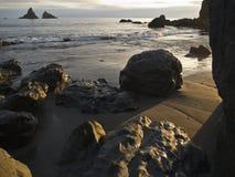 Por do sol na praia de Harris foto de stock