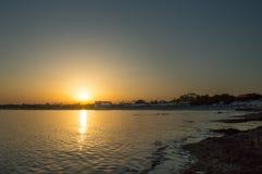 Por do sol na praia de Landa Foto de Stock