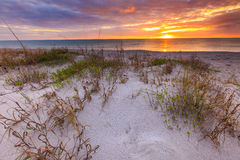 Por do sol na praia de Manisota fotografia de stock
