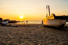 Por do sol na praia de Palolem, Goa Fotos de Stock