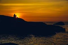 Por do sol na praia de Palolem, Goa Foto de Stock