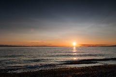 Por do sol na praia de Roberts do ponto fotos de stock royalty free
