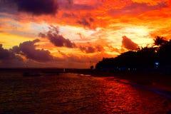 Por do sol na praia de Sanur Foto de Stock