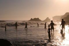 Por do sol na praia do EL Matador Foto de Stock Royalty Free
