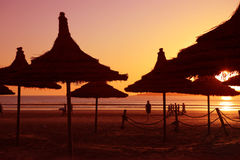 Por do sol na praia em Essaouria Fotos de Stock Royalty Free