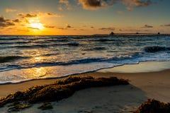 Por do sol na praia imperial, CA fotos de stock