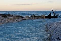 Por do sol na praia do mar das caraíbas, República Dominicana fotos de stock royalty free