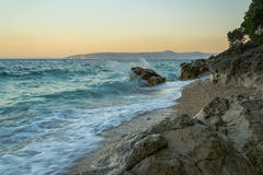 Por do sol na praia no ka Draga do  do eniÄ do ‡ do ¡ Ä de MoÅ Fotografia de Stock Royalty Free