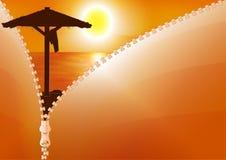 Por do sol na praia Vetor Foto de Stock