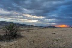 Por do sol na região selvagem Foto de Stock