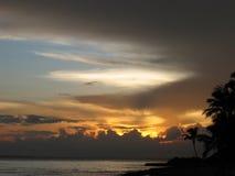 Por do sol na República Dominicana Imagem de Stock