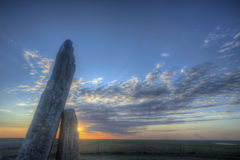 Por do sol na rocha de Teter, Flint Hills, Kansas Fotos de Stock Royalty Free