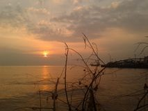 Por do sol na tarde imagens de stock