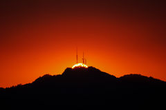 Por do sol na tecnologia fotografia de stock