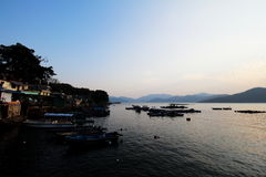 Por do sol na torneira Mun Pier fotos de stock royalty free