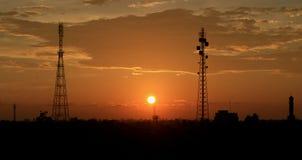 Por do sol na vila de Aceh Foto de Stock