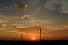 Por do sol na vila de Aceh Fotos de Stock