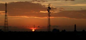 Por do sol na vila de Aceh Imagem de Stock