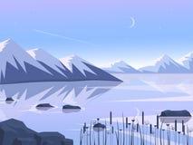 Por do sol nas montanhas com reflexão no lago Projeto liso Ilustração do vetor ilustração royalty free