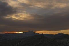 Por do sol nas montanhas de Elche Foto de Stock